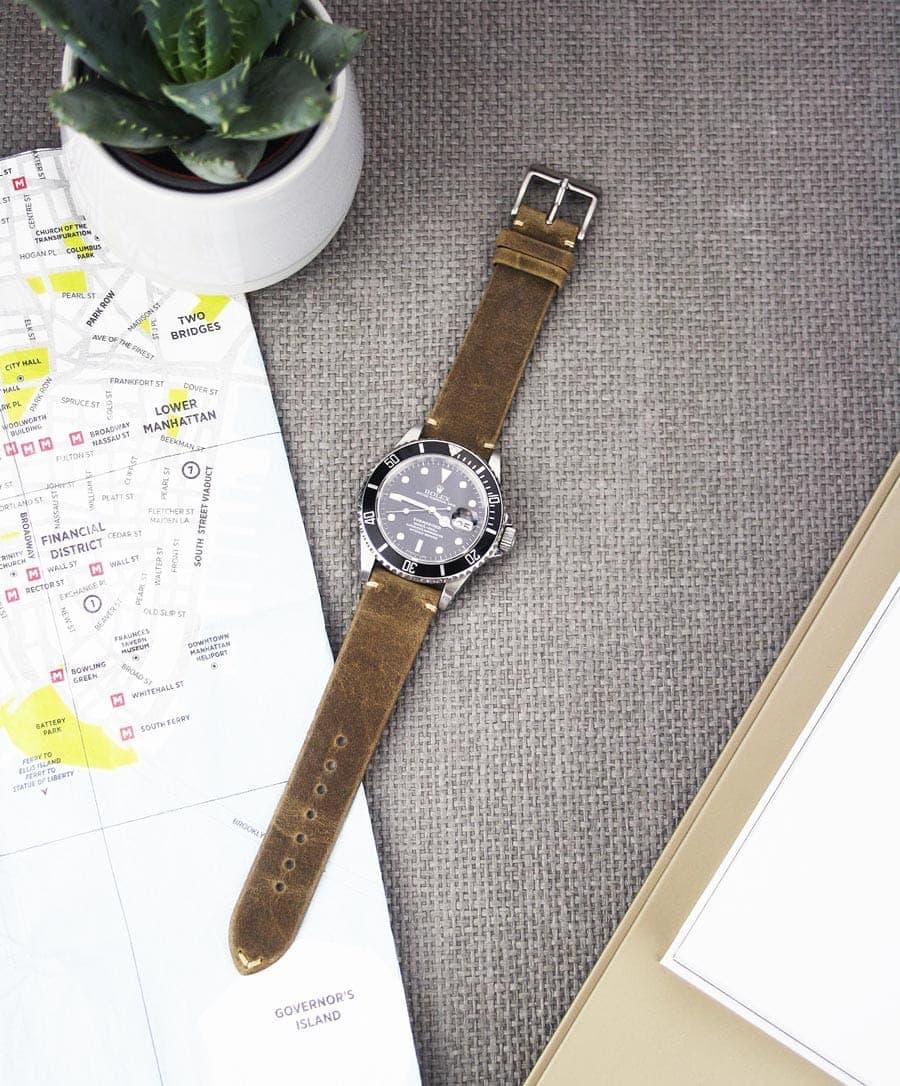 2f645369286e6 Choklad-Grey Leather Watch Strap | Stylish Grey Brown Calfskin