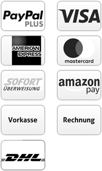 Zahlungsmethoden mit Paypal, Visa, Mastercard, Sofort Ueberweisung, American Express, Lastschrift, Überweisung Vorkasse, Kauf auf Rechnung und Label kostenloser Versand