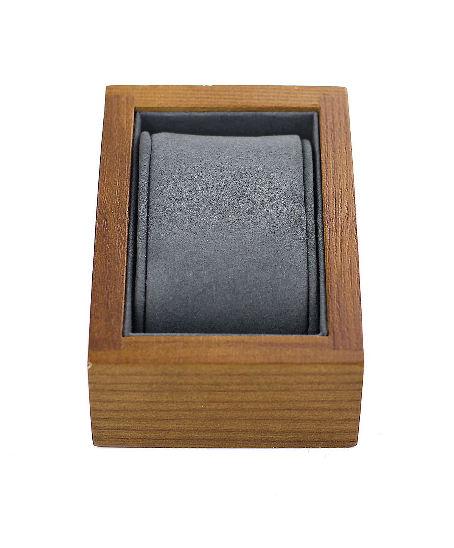 Uhrenhalter Holz Massives Edelholz In Dunkelbraun Graues Kissen